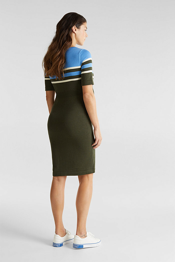 Fine knit dress with block stripes, KHAKI GREEN, detail image number 2