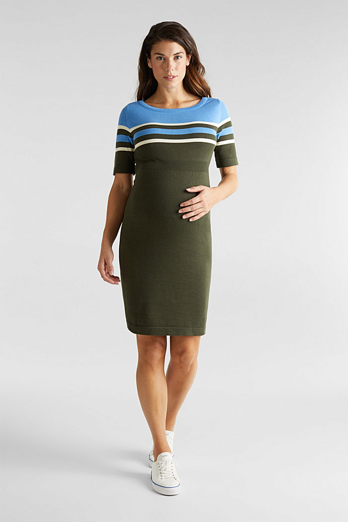 Fine knit dress with block stripes, KHAKI GREEN, detail image number 4