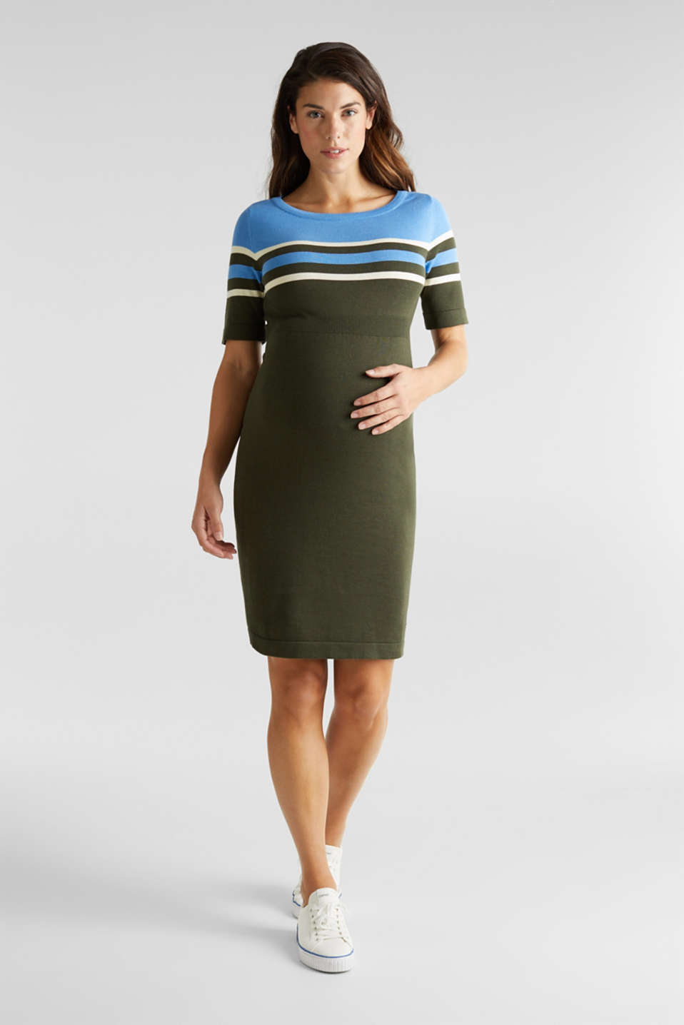 Fine knit dress with block stripes, LCKHAKI GREEN, detail image number 4