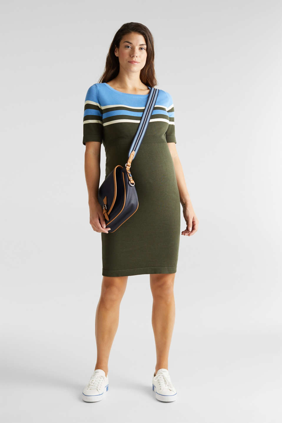 Fine knit dress with block stripes, LCKHAKI GREEN, detail image number 1