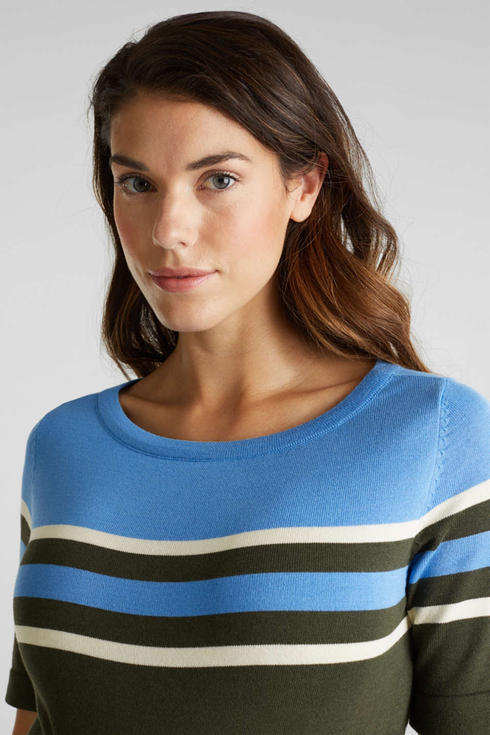 Fine knit dress with block stripes, LCKHAKI GREEN, detail image number 5
