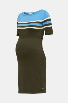 Fine knit dress with block stripes, LCKHAKI GREEN, detail