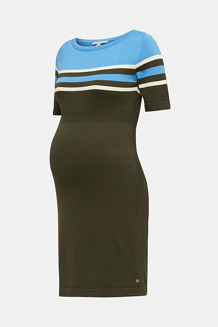 Fine knit dress with block stripes, KHAKI GREEN, detail image number 6