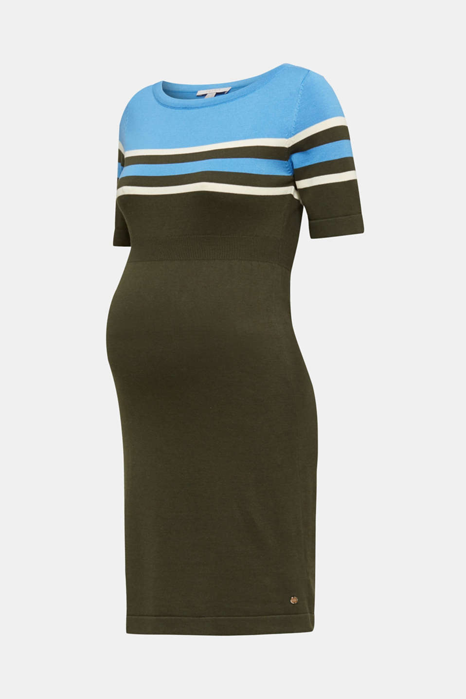 Fine knit dress with block stripes, LCKHAKI GREEN, detail image number 6