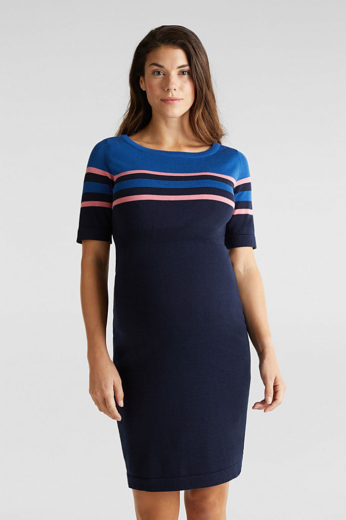 Fine knit dress with block stripes, NIGHT BLUE, detail image number 0