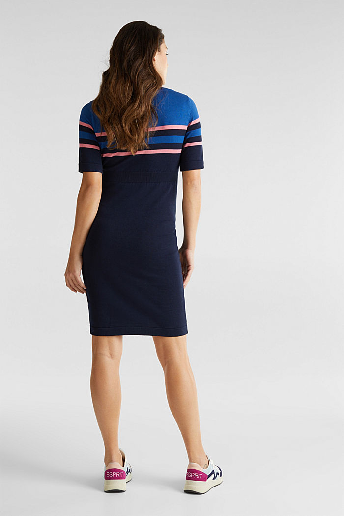 Fine knit dress with block stripes, NIGHT BLUE, detail image number 2