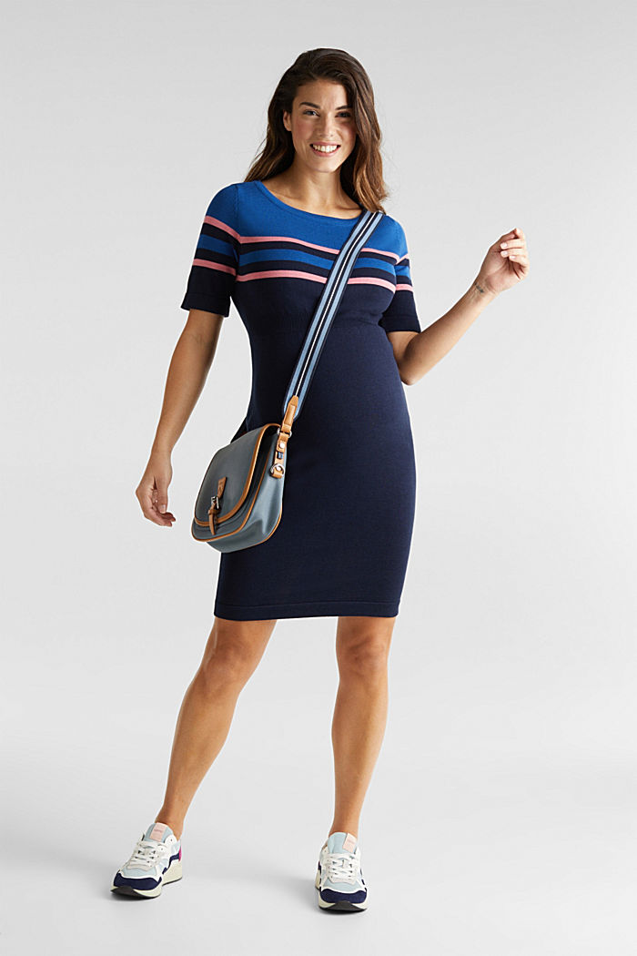 Fine knit dress with block stripes, NIGHT BLUE, detail image number 1