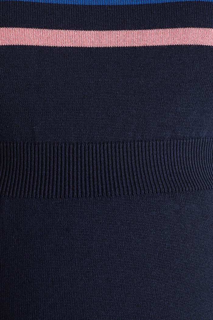 Fine knit dress with block stripes, NIGHT BLUE, detail image number 4