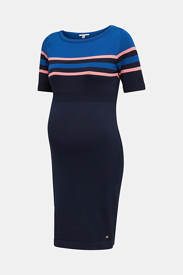 Fine knit dress with block stripes, NIGHT BLUE, detail image number 6
