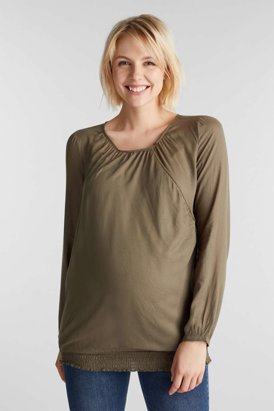 Jacquard nursing blouse, LCLIGHT KHAKI, detail image number 0