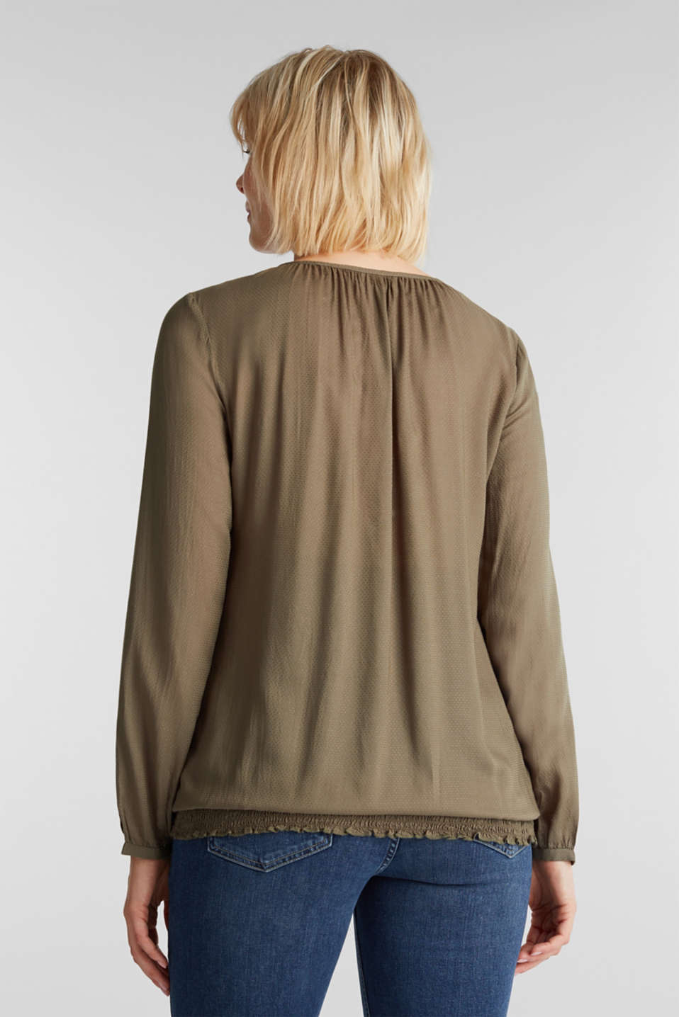 Jacquard nursing blouse, LCLIGHT KHAKI, detail image number 3