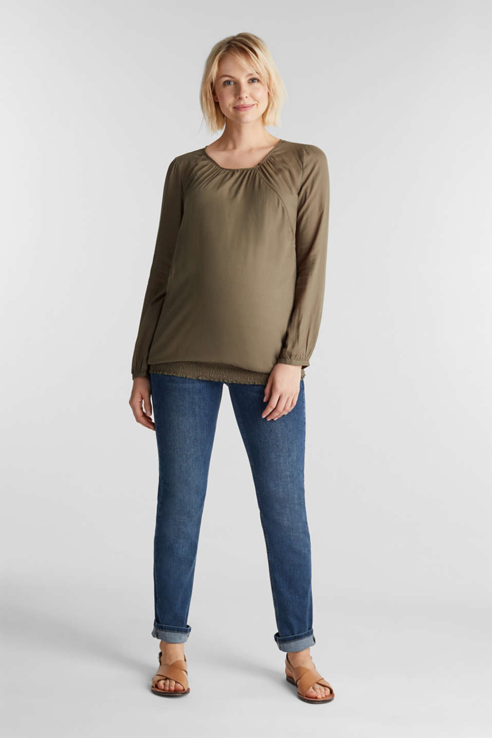 Jacquard nursing blouse, LCLIGHT KHAKI, detail image number 1