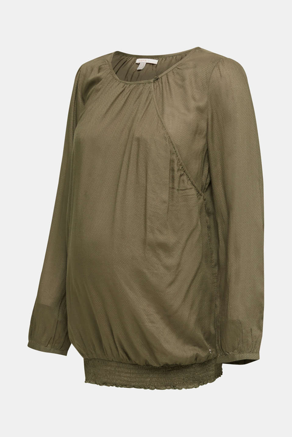 Jacquard nursing blouse, LCLIGHT KHAKI, detail image number 6