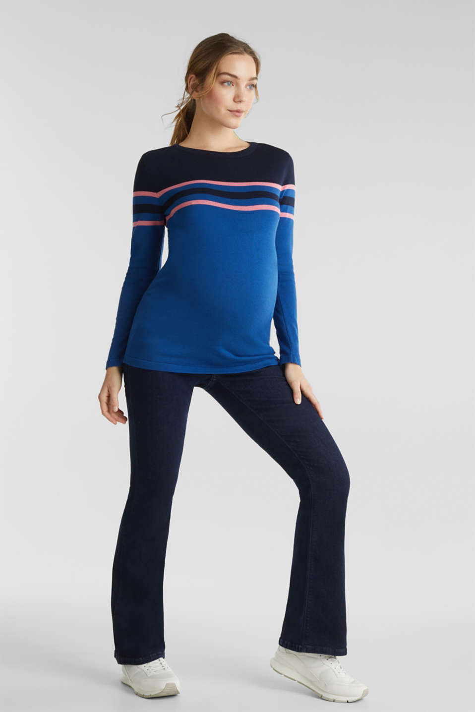 Colour block jumper with stripes, LCBRIGHT BLUE, detail image number 1