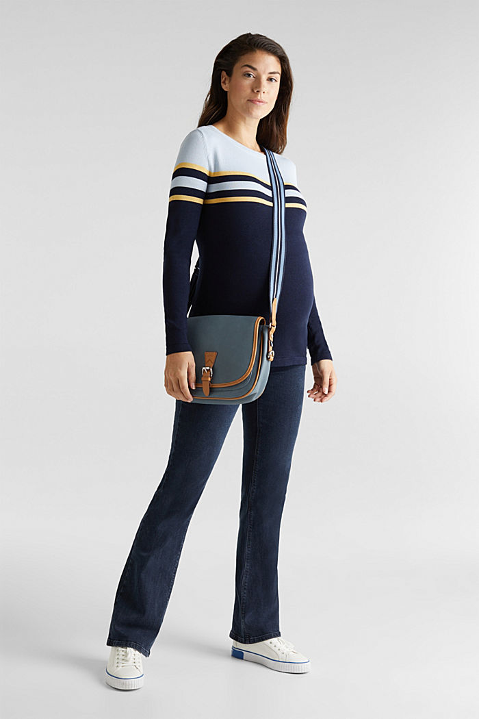 Colour block jumper with stripes, NIGHT BLUE, detail image number 1