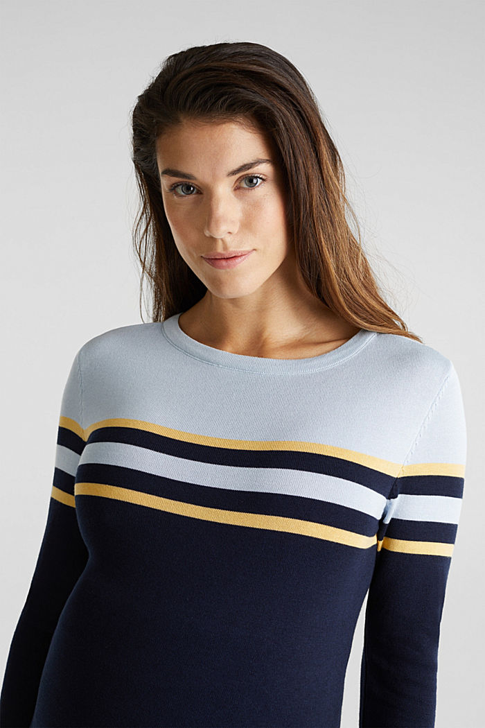 Colour block jumper with stripes, NIGHT BLUE, detail image number 5