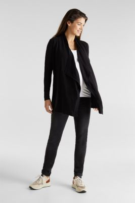 Cardigan with a tie-around belt, 100% cotton, LCBLACK, detail