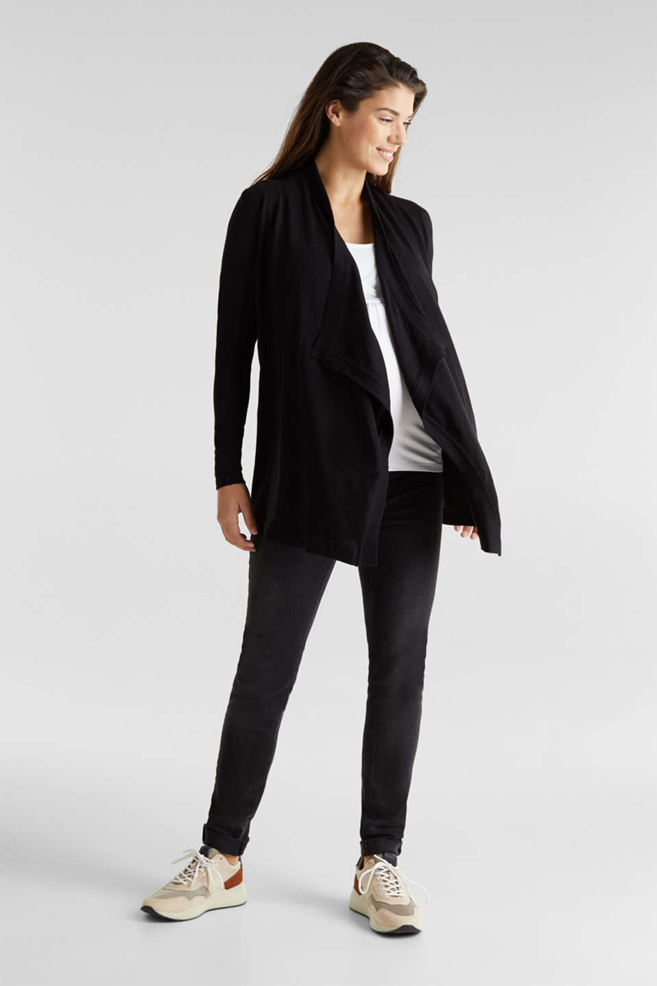Cardigan with a tie-around belt, 100% cotton, LCBLACK, detail image number 1