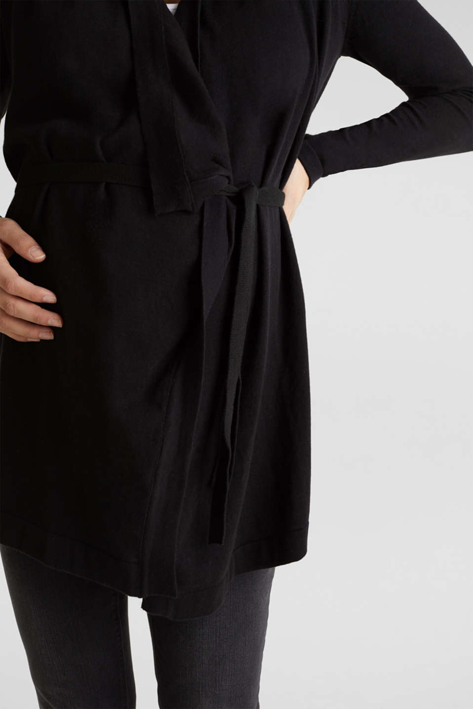 Cardigan with a tie-around belt, 100% cotton, LCBLACK, detail image number 2