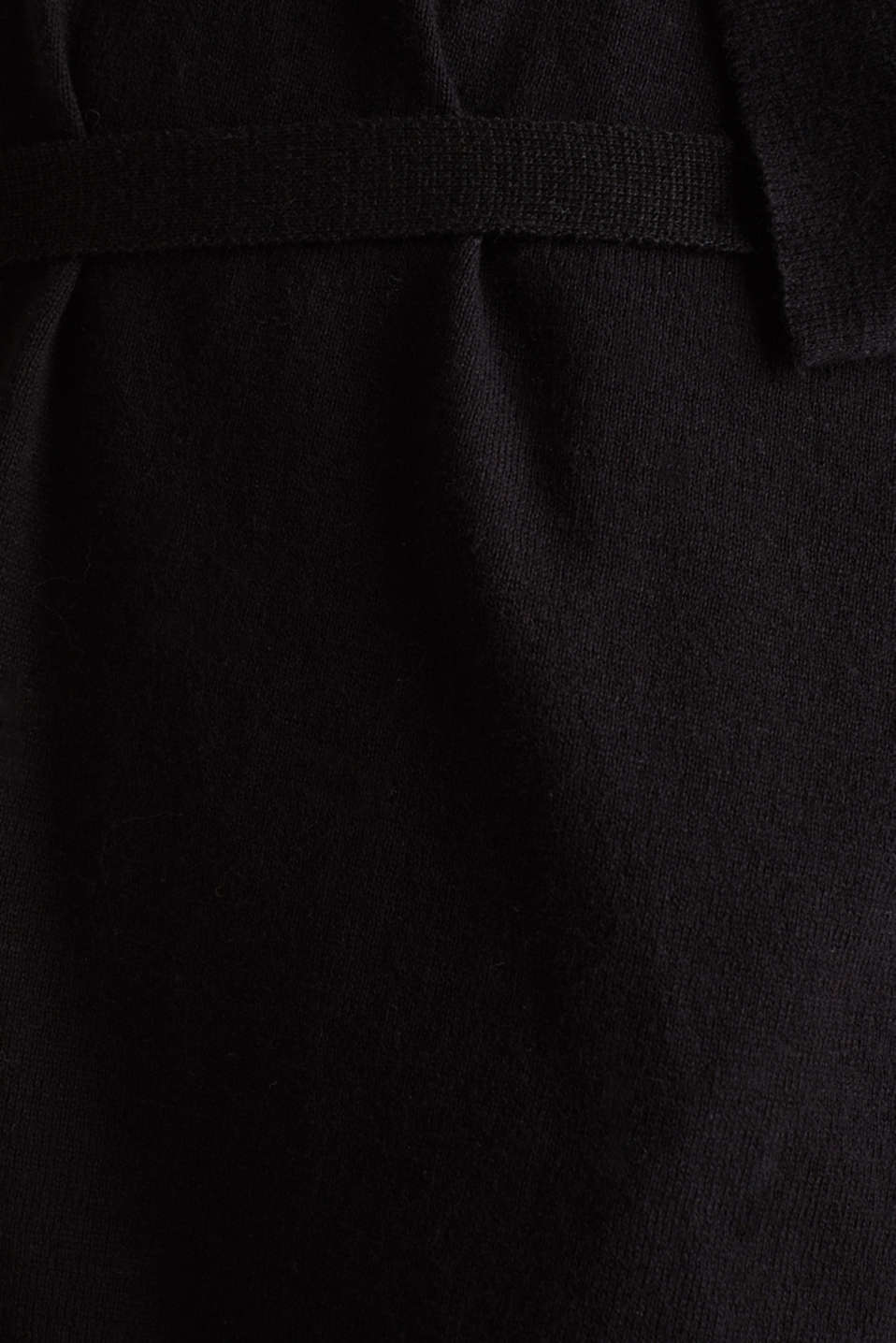 Cardigan with a tie-around belt, 100% cotton, LCBLACK, detail image number 4