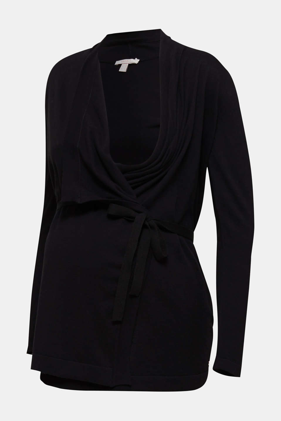 Cardigan with a tie-around belt, 100% cotton, LCBLACK, detail image number 5