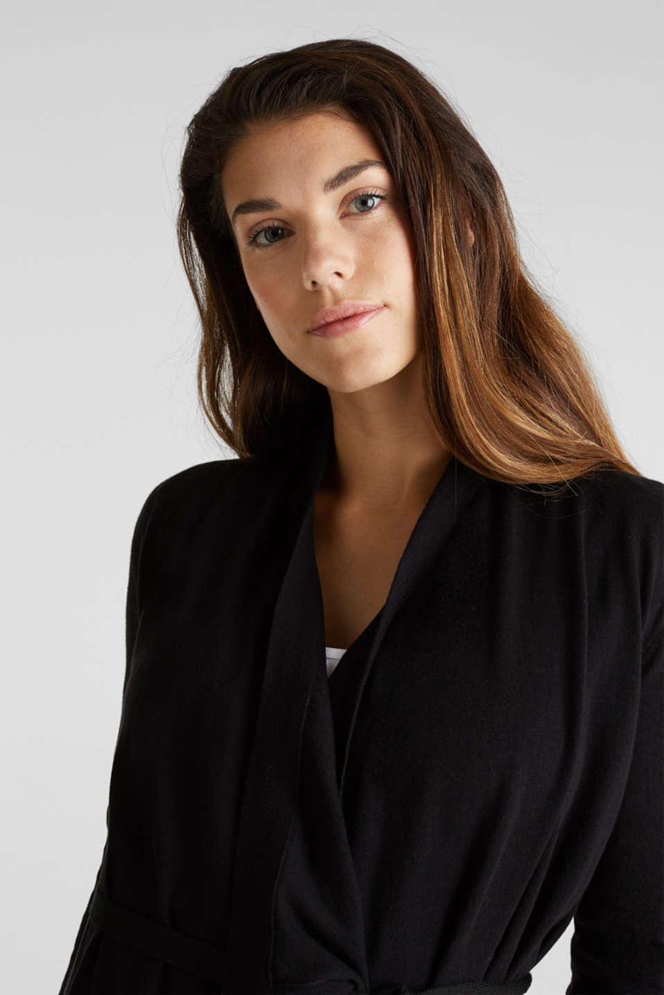 Cardigan with a tie-around belt, 100% cotton, LCBLACK, detail image number 6