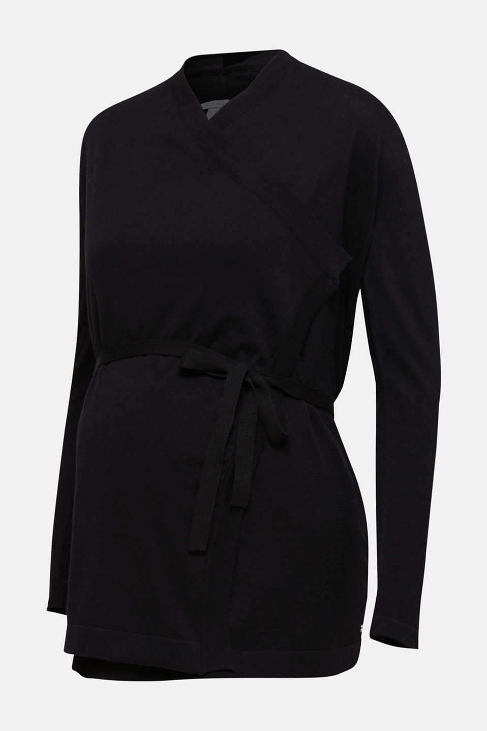 Cardigan with a tie-around belt, 100% cotton, LCBLACK, detail image number 7