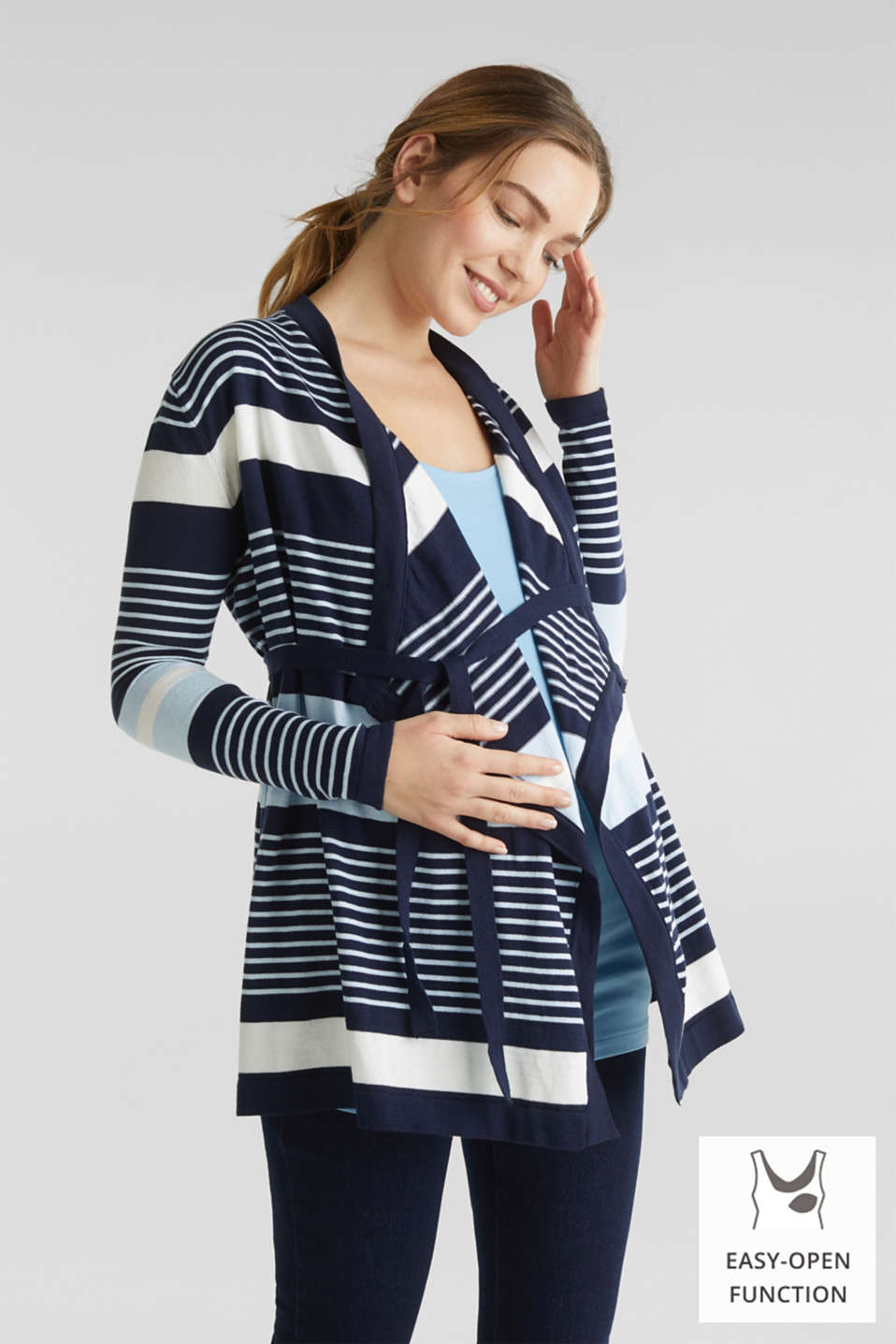 Cardigan with a tie-around belt, LCNIGHT BLUE, detail image number 0