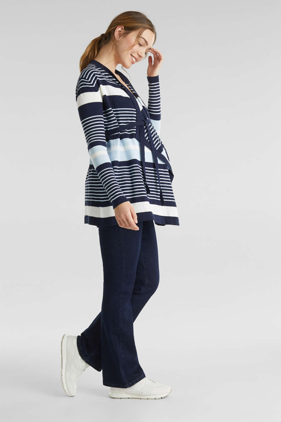 Cardigan with a tie-around belt, LCNIGHT BLUE, detail image number 3