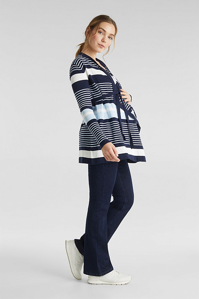 Cardigan with a tie-around belt, NIGHT BLUE, detail image number 1