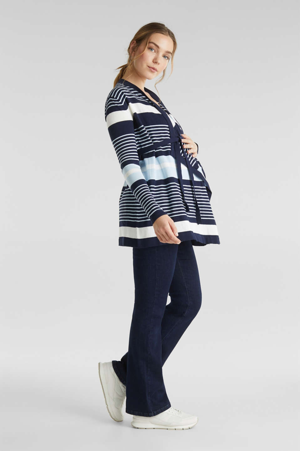Cardigan with a tie-around belt, LCNIGHT BLUE, detail image number 1