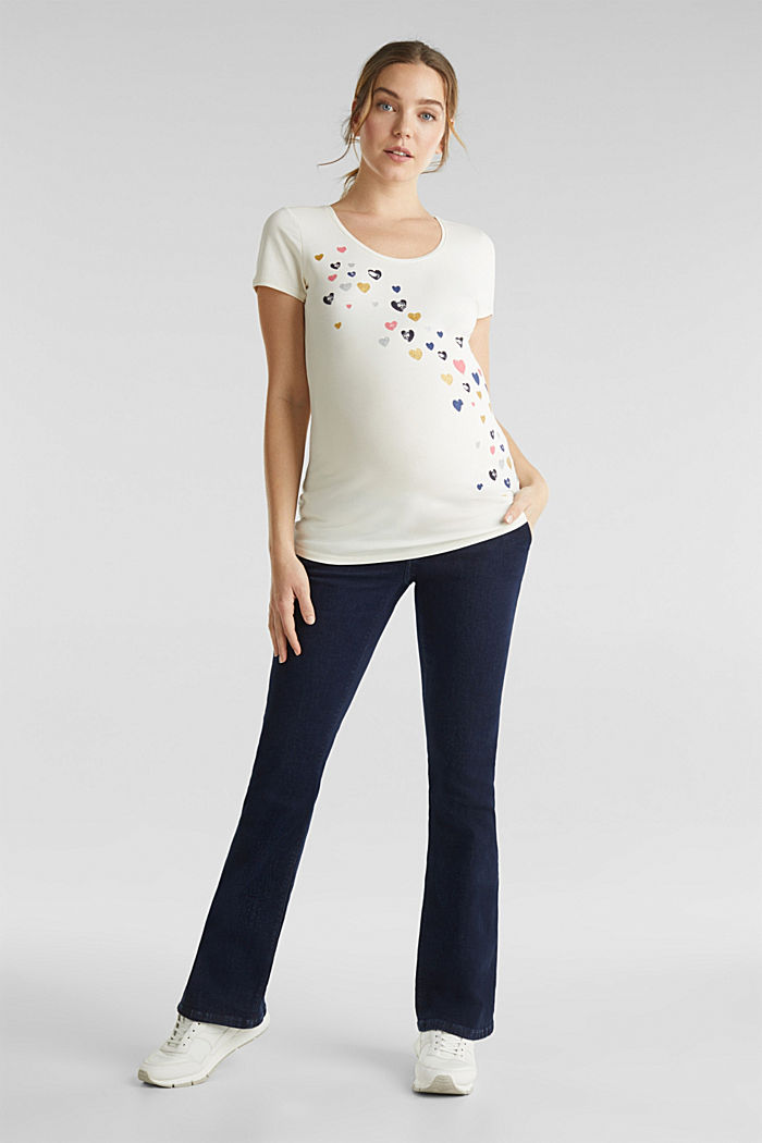 Stretch top with glittering print, OFF WHITE, detail image number 1