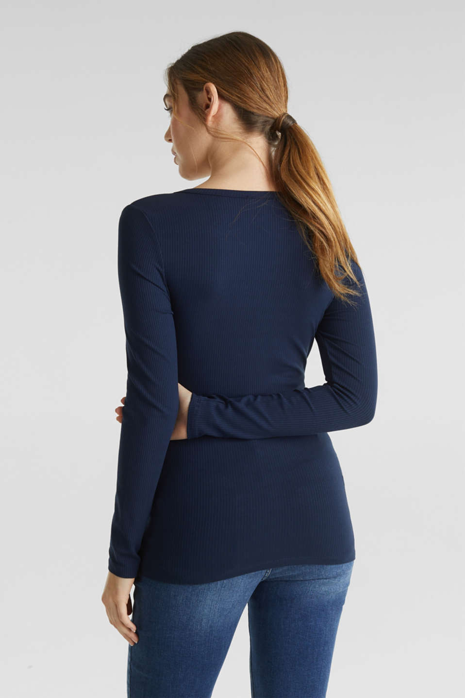 Ribbed long sleeve top with a button placket and stretch for comfort, LCNIGHT BLUE, detail image number 3
