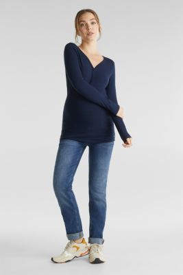 Ribbed long sleeve top with a button placket and stretch for comfort, LCNIGHT BLUE, detail