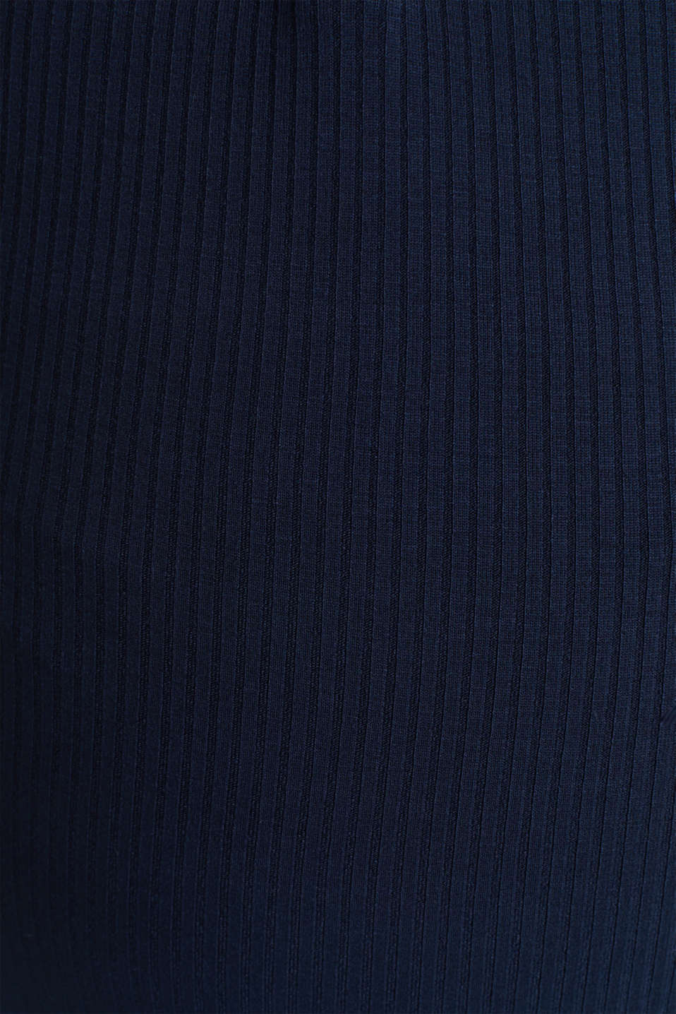 Ribbed long sleeve top with a button placket and stretch for comfort, LCNIGHT BLUE, detail image number 4