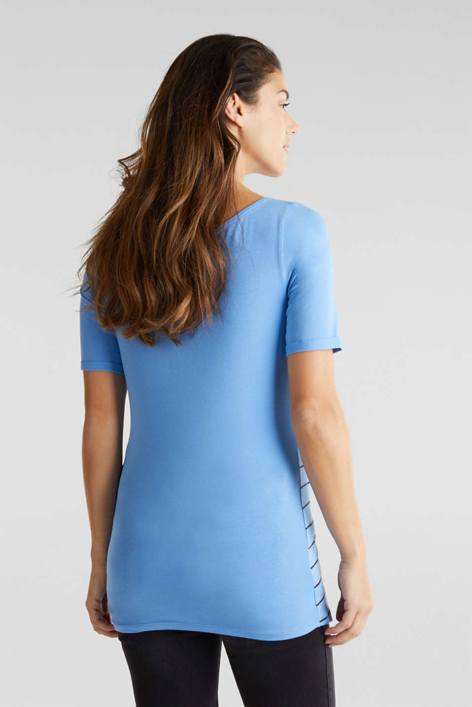 Stretch top with a print on the front, LCBLUE, detail image number 3