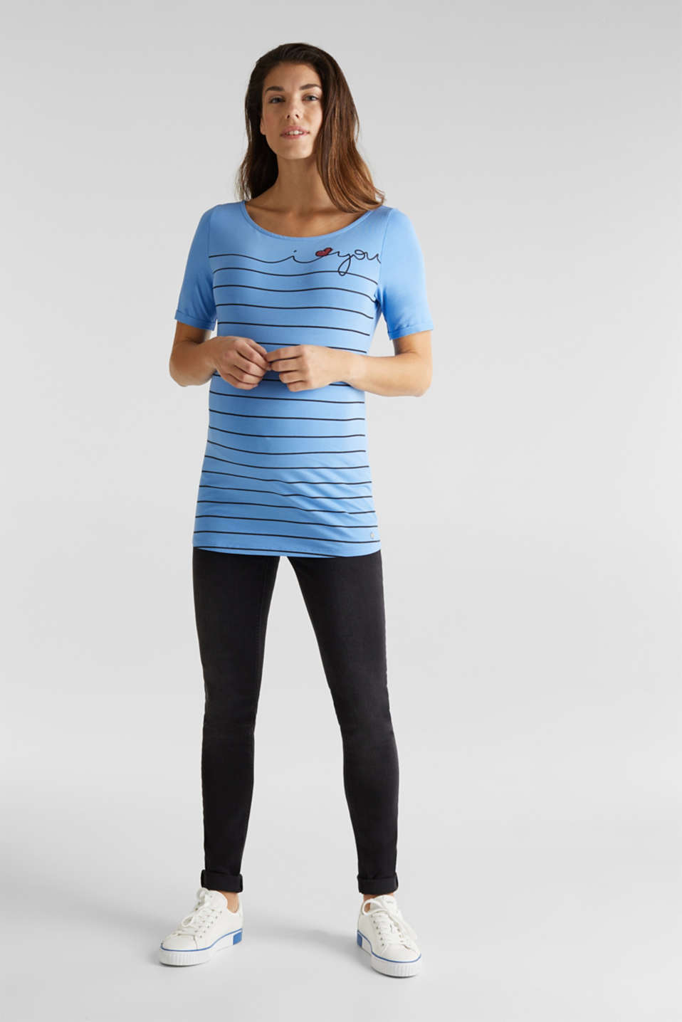 Stretch top with a print on the front, LCBLUE, detail image number 1