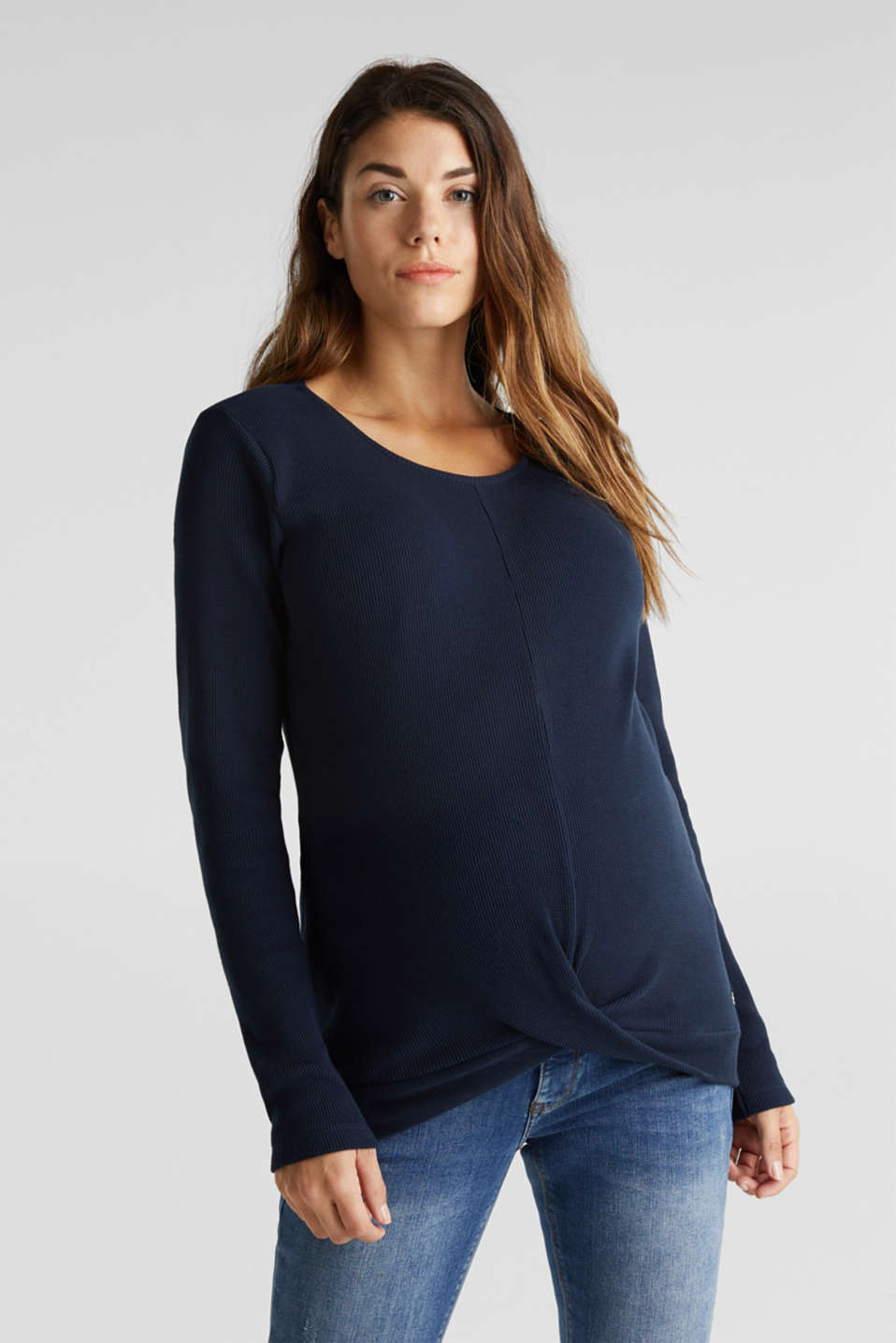 Piqué long sleeve top with a draped effect, 100% cotton, LCNIGHT BLUE, detail image number 0