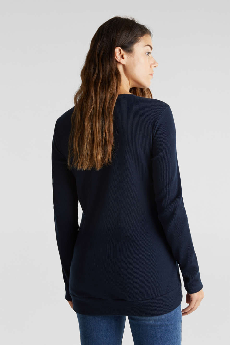 Piqué long sleeve top with a draped effect, 100% cotton, LCNIGHT BLUE, detail image number 3