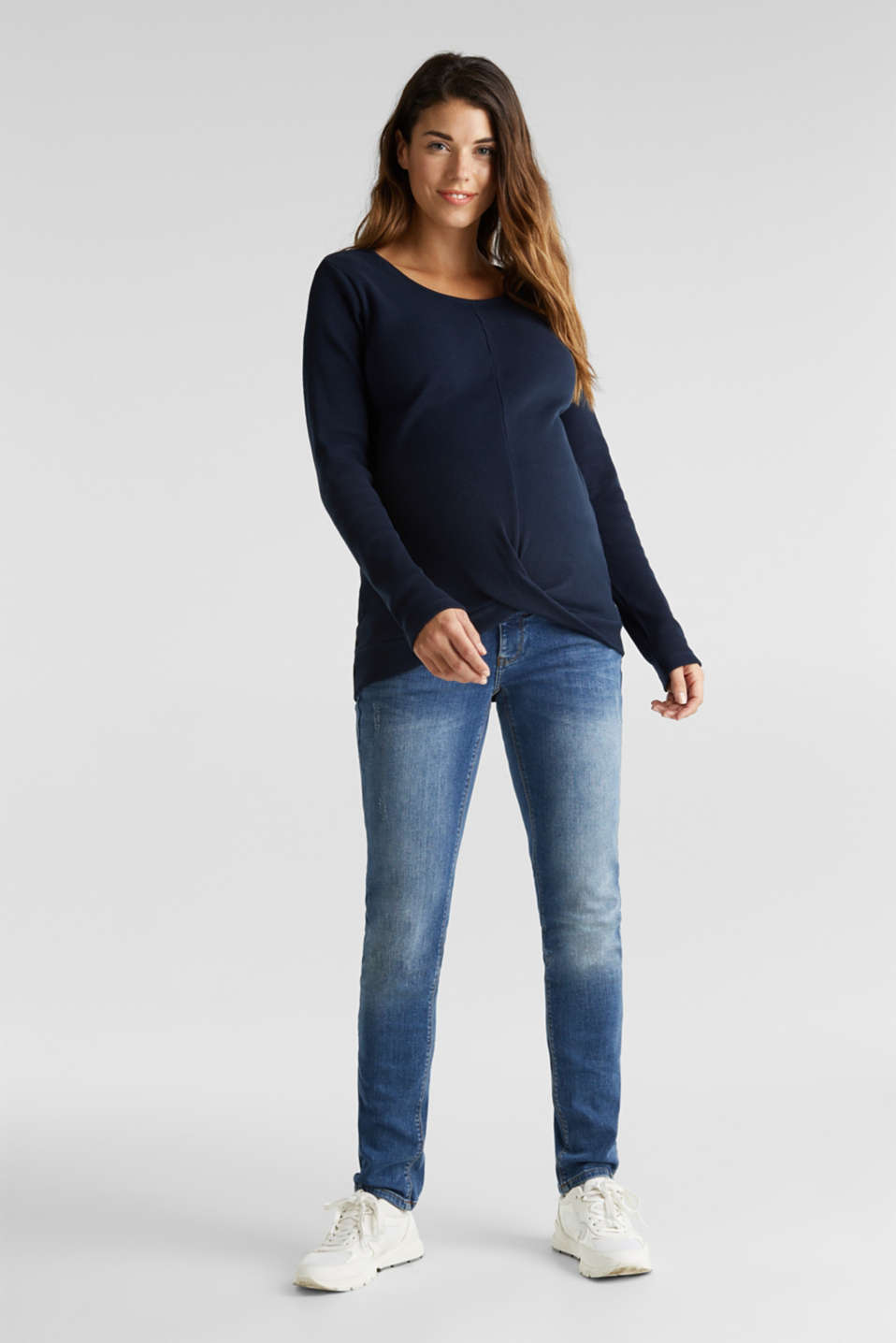 Piqué long sleeve top with a draped effect, 100% cotton, LCNIGHT BLUE, detail image number 1