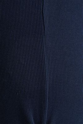 Piqué long sleeve top with a draped effect, 100% cotton, LCNIGHT BLUE, detail