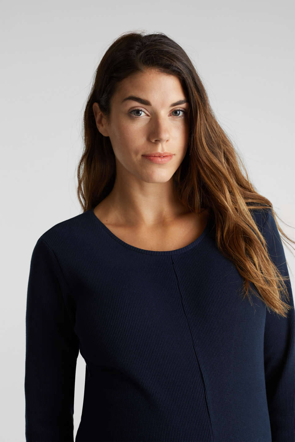 Piqué long sleeve top with a draped effect, 100% cotton, LCNIGHT BLUE, detail image number 5