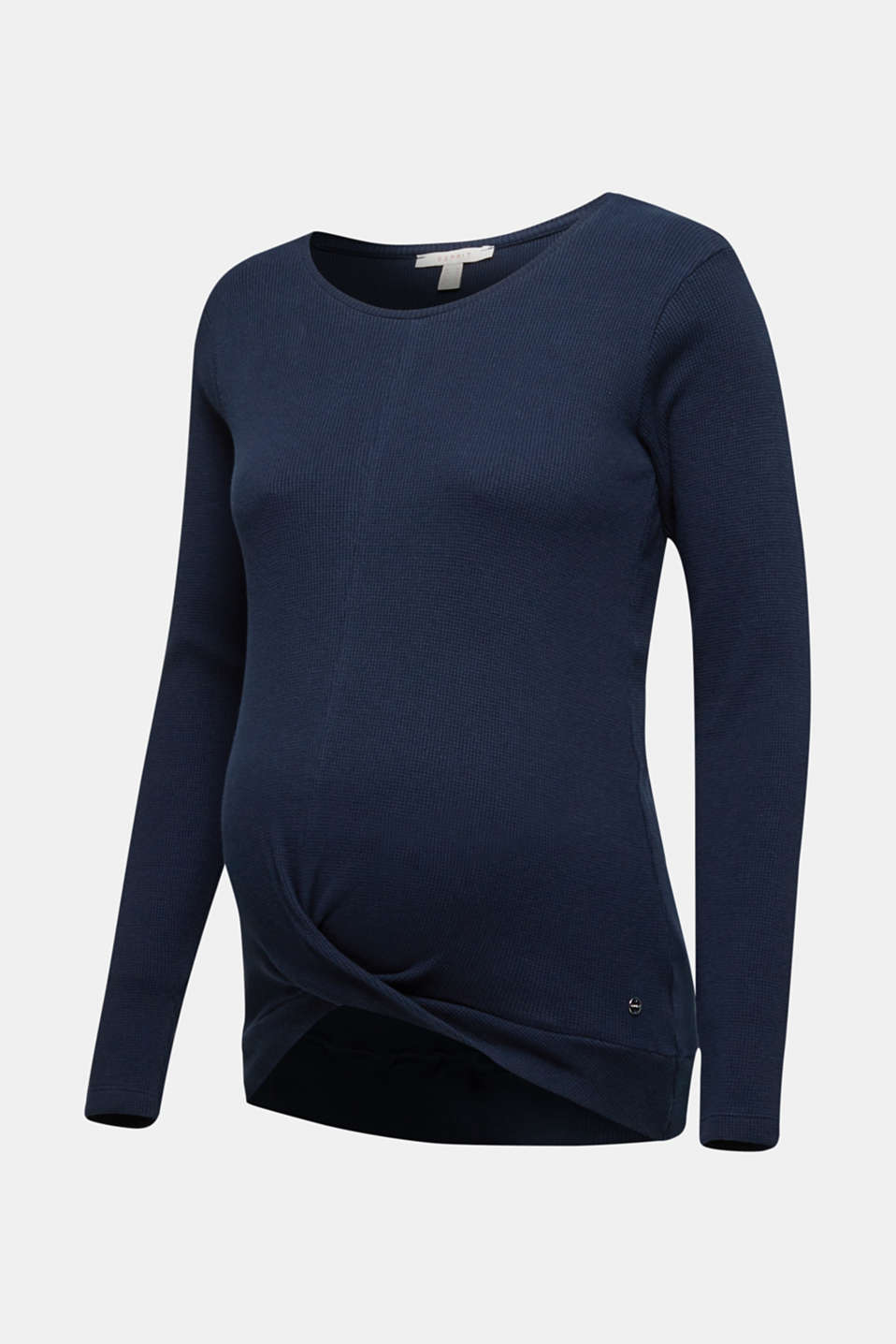 Piqué long sleeve top with a draped effect, 100% cotton, LCNIGHT BLUE, detail image number 6