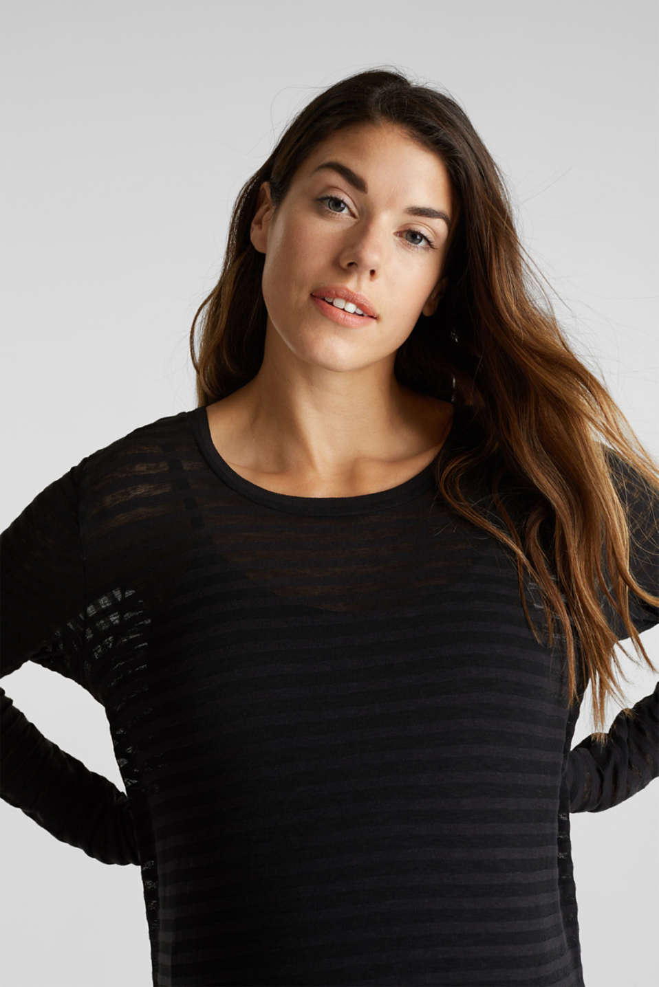 2 in 1: Long sleeve top with a nursing top, BLACK, detail image number 2