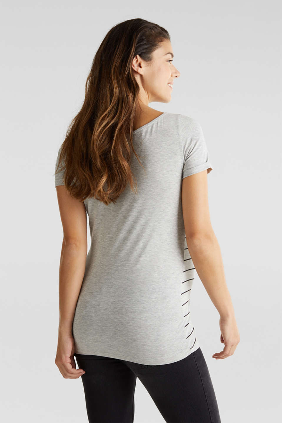 Stretch melange top with a print, LCLIGHT GREY MEL, detail image number 3