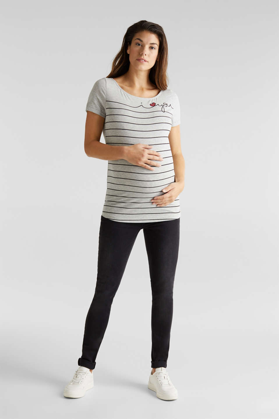 Stretch melange top with a print, LCLIGHT GREY MEL, detail image number 1