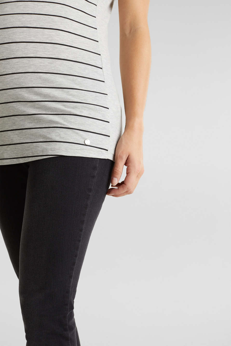 Stretch melange top with a print, LCLIGHT GREY MEL, detail image number 2