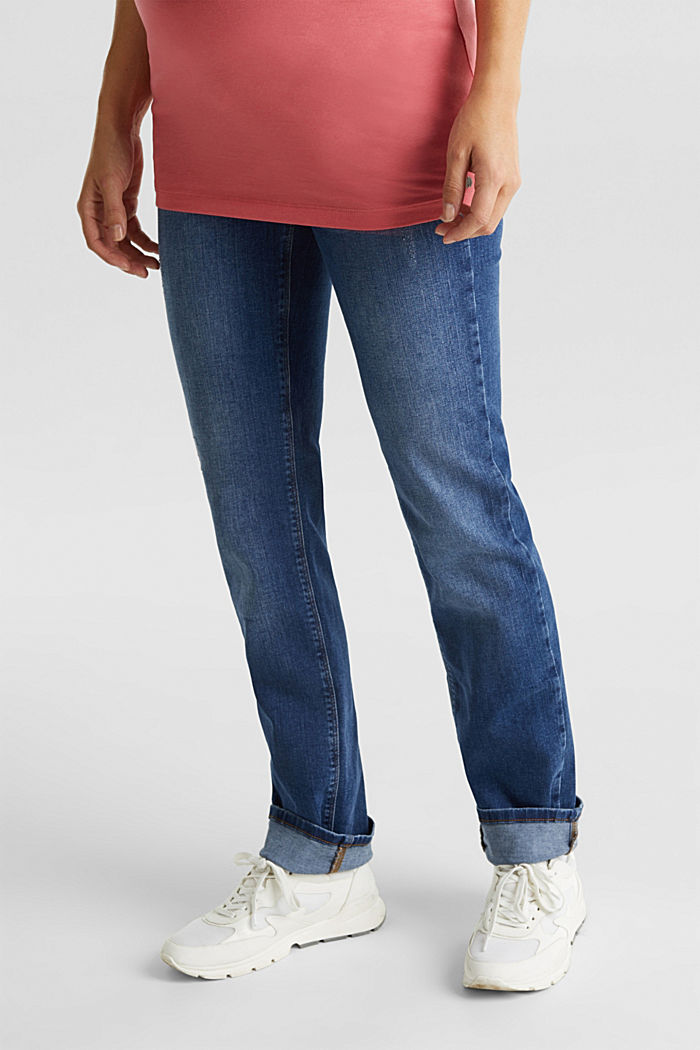 Vintage-style jeans with an over-bump waistband, BLUE MEDIUM WASHED, detail image number 5