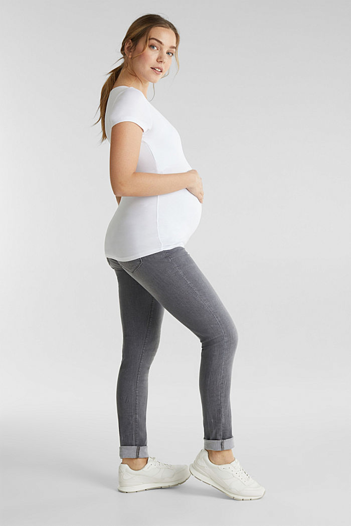 Super stretchy jeans, over-the-bump waistband, GREY DENIM, detail image number 1