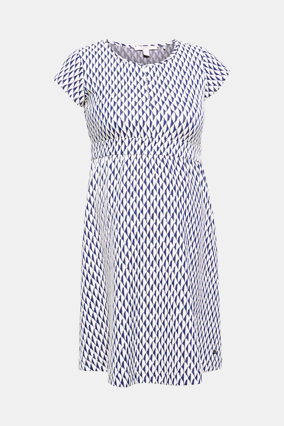 Stylish thanks to the trendy diamond pattern, functional thanks to the nursing function: this jacquard dress.